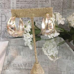 Sterling silver earrings (half hoops) w/gold tone